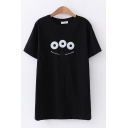 Casual Womens Short Sleeve Round Neck Cartoon Face Embroidered Loose Fit T-Shirt