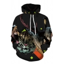 Fashionable Mens Long Sleeve Drawstring Tiger Deer 3D Patterned Pouch Pocket Relaxed Hoodie in Black