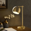 Globe Metal Table Lighting Vintage Study Room LED Nightstand Lamp in Gold with Plug In Cord