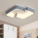 Iron Severed Square Flushmount Simple LED Ceiling Flush Mount in Grey for Bedroom, Warm/White Light