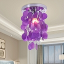 Contemporary 1 Light Flush Mount Purple Waterfall Close to Ceiling Lamp with Shell Shade