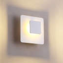 Minimalist LED Wall Mounted Lamp White Square Wall Sconce Lighting with Acrylic Shade in White/Warm Light