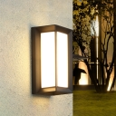 LED Flush Wall Sconce Farmhouse Cuboid Shape Cream Glass Wall Mounted Lamp in Black, Warm/White Light