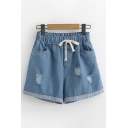Popular Womens Drawstring Waist Ripped Rolled Cuffs Relaxed Fit Denim Shorts
