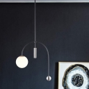 Post Modern Global Hanging Pendant White Glass 1 Bulb Living Room Ceiling Lamp with Black Arch Design