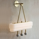 White Glass Rectangular Sconce Light Post Modern LED Brass Wall Lamp Fixture with 3 Marble Balls Deco in White/Warm Light