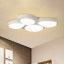 White 4 Bubbles Ceiling Flush Mount Simplicity Acrylic LED Flush Light for Study Room