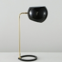 Contemporary Globe Desk Light Metallic 1 Head Bedside Reading Lamp in Black with Circular Base