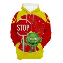 Chic Popular Long Sleeve Drawstring STOP Letter Virus Graphic Color Block Pouch Pocket Loose Hoodie in Red