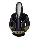 Super Hero Black Widow Cosplay Geometric 3D Pattern Zip Up Drawstring Loose Hoodie in Black