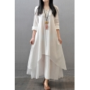 Retro Fashion Womens Long Sleeve V-Neck Button Up Bi-Layered Linen Solid Color Maxi Swing Dress