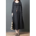 Retro Ladies Solid Color Long Sleeve Round Neck Pleated Linen Maxi Oversize Dress in Black