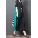 Popular Womens Short Sleeve Round Neck Cotton and Linen Color Block Maxi Oversize Dress in Green
