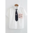 Cool Stylish Girls White Short Sleeve Lapel Collar Pocket Cat Japanese Letter Embroidery Tie Front Button Up Color Block Relaxed Shirt