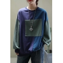 Streetwear Girls Long Sleeve Round Neck Patchwork Color Block Relaxed Fit Pullover Sweatshirt