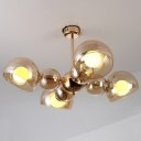 Amber Glass Shade Dome Flushmount Light Contemporary 4/6 Lights Semi Flush Mount Lamp for Living Room