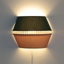 1 Bulb Bedside Flush Wall Sconce Macaron Green and Pink Wall Mounted Light with Semi Drum Fabric Shade