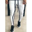 Chic Unique Gym Mens Drawstring Waist Stripe Print Long Skinny Pants