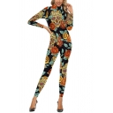 Popular Pretty Womens Black Long Sleeve Mock Neck Zipper Back All Over Skull Floral Print Slim Fit Ankle Length Jumpsuits