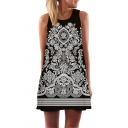 Chic Womens Sleeveless Round Neck Flower Pattern Mini A-Line Tank Dress