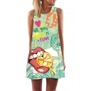 Girls Fashionable Sleeveless Round Neck Letter ALL YOU NEED IS LOVE Lip Heart Graphic Mini A-Line Tank Dress