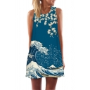 Designer Girls Sleeveless Round Neck Flower Wave Pattern Short A-Line Tank Dress in Blue