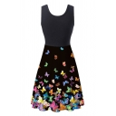 Fancy Ladies Sleeveless Round Neck Butterfly Patterned Short A-Line Pleated Tank Dress in Black