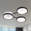 Minimalist 3-Ring Flush Mount Ceiling Light Acrylic LED Bedroom Flushmount Lamp in Black, Warm/White Light