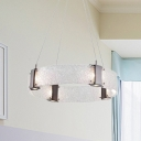3 Lights Bedroom Ceiling Chandelier Contemporary Gold Pendant Light Fixture with Ring White Water Glass Shade