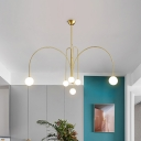 Brass Orb LED Suspension Light Postmodern 6 Lights Opal Frosted Glass Pendant Chandelier with Arc Arm