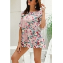 Casual Fancy Ladies Ruffled Sleeve Round Neck Allover Flower Printed Mini Swing Dress in Pink