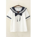 Preppy Girls Short Sleeve Sailor Collar Bow Tie Front Varsity Stripe Bear Embroidered Relaxed T Shirt