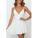 Hot Chic Ladies Solid Color Sleeveless Surplice Neck Hollow Out Back Bow Tie Waist Mini Pleated A-Line Cami Dress