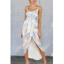 Gorgeous Hot Ladies Sleeveless V-Neck Tied Front Tie Dye Slit Front High Low Hem Maxi Wrap Cami Dress in White