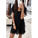 Casual Fancy Ladies Plain Short Sleeve Round Neck Fringe Decoration Mini Relaxed Shift Dress