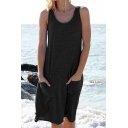 Leisure Womens Sleeveless Round Neck Patched Pockets Short Plain A-Line Tank Dress