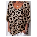 Women's Fashion Leopard Printed V Neck Half Sleeve T-Shirt