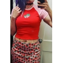 Ladies Popular Red Short Sleeve Crew Neck Strawberry Embroidery Stringy Selvedge Colorblock Fit Cropped T-Shirt
