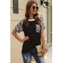 Leisure Trendy Ladies Short Sleeve Round Neck Leopard Printed Twist Front Contrasted Fitted Tee Top