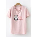 Preppy Girls Short Sleeve Round Neck Letter CUTE BUT PSYCHO BUT CUTE Owl Embroidered Stringy Selvedge Loose Fit T Shirt
