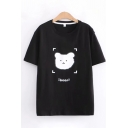 Cute Girls Short Sleeve Round Neck Bear Grpahic Loose Fit T Shirt