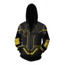 Mens Popular Designer Long Sleeve Drawstring Zip Up Geometric 3D Patterned Slim Fitted Hoodie in Black