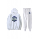 Chic Girls Long Sleeve Letter NASA Print Pouch Pocket Loose Hoodie & Drawstring Waist Cuffed Relaxed Sweatpants