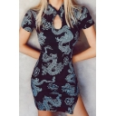 Vintage Black Short Sleeve Mandarin Collar Cut Out All Over Dragon Printed Slit Side Short Bodycon Dress