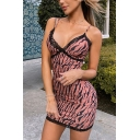 Sexy Womens Sleeveless Stripe Printed Lace Trim Mini Tight Cami Dress in Pink