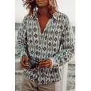 Novelty Mens Long Sleeve Lapel Collar Button Down Geometric Printed Relaxed Fit Shirt in Blue