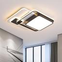 Squared Metal Ceiling Flush Modernism LED Black Flush-Mount Light Fixture for Bedroom, 16