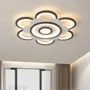 Petal Acrylic Flush Lighting Modernism White and Black LED Flush Mount Ceiling Lamp in White/Warm Light, 20.5