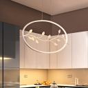 Halo Acrylic Suspension Light Simple White LED Branch Ceiling Pendant Lamp in White/Warm Light