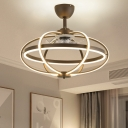 Modernism Oval Cage Ceiling Fan Light Acrylic Living Room 25.5